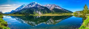 Reflection of mountains in Tern Lake, Tern Lake Wildlife Viewing Area, near Moose lake, Kenai Pe...