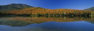 Reflection of Trees and Hill in a Lake, Heart Lake, Adirondack, New York State, USA