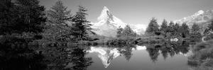 Reflection of Trees and Mountain in a Lake, Matterhorn, Switzerland