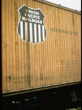 Refrigerator Box Car Showing the Logo of the Union Pacific Railroad