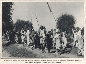 Refugee Sikhs March Toward the East Punjab