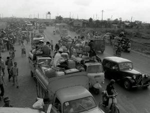 Refugees Fleeing the Advance of Communist Forces Pour into Saigon