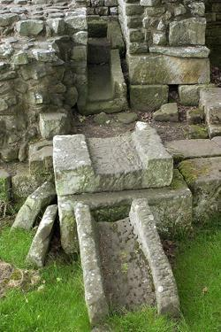 Remains of Latrine, Roman Bathhouse in Fort at Chesters Along Hadrian's Wall, Northumbria, England