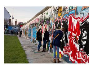 Remains of the Berlin Wall at the East Side Gallery in Berlin, Germany