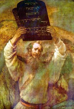 Rembrandt Harmensz. van Rijn (Moses with the bill boards) Art Poster Print
