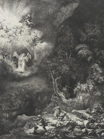 The Angel Appearing to the Shepherds, 1634 by Rembrandt Harmensz. van Rijn