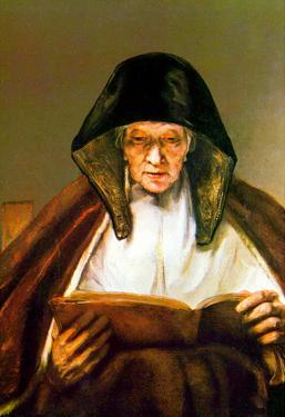 Rembrandt Old Woman Reading Art Print Poster