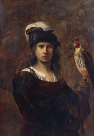 A Falconer, Standing Half Length, in a Feathered Hat by Rembrandt van Rijn