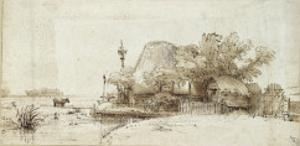 A Farmstead by a Stream by Rembrandt van Rijn