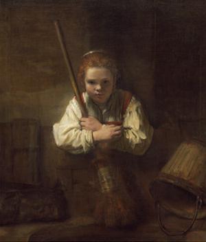 A Girl with a Broom, 1651 by Rembrandt van Rijn