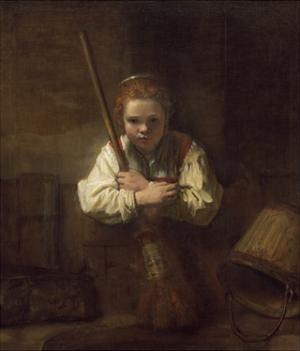 A Girl with a Broom, 1651 by Rembrandt van Rijn