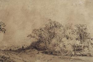 A Rough Road Along the Dyke with Trees Hiding a Farmstead by Rembrandt van Rijn