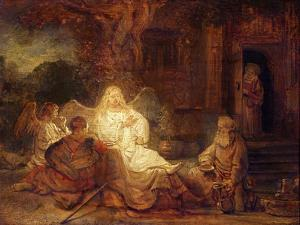 Abraham Receives the Three Angels by Rembrandt van Rijn