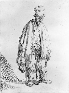 Beggar in a High Cap, C.1630 (Etching) by Rembrandt van Rijn