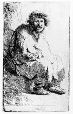 Beggar Seated on a Bank, 1630 (Etching) by Rembrandt van Rijn