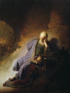 Jeremiah Mourning the Destruction of Jerusalem by Rembrandt van Rijn