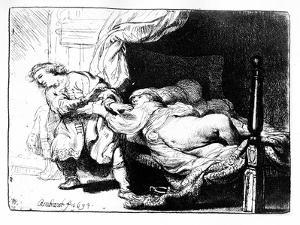 Joseph and Potiphar's Wife, 1634 (Etching) by Rembrandt van Rijn