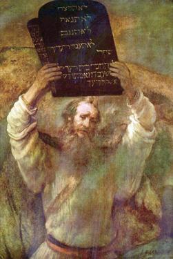 Moses with the Commandments by Rembrandt van Rijn