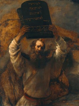 Moses with the Ten Commandments by Rembrandt van Rijn
