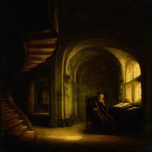 Philosopher with an Open Book, 1625-7 by Rembrandt van Rijn
