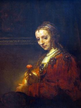 Portrait of a Woman with a Pink Carnation by Rembrandt van Rijn