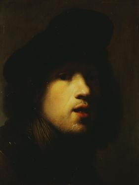 Portrait of the Artist, Head and Shoulders, in a Black Beret and a Gorget by Rembrandt van Rijn