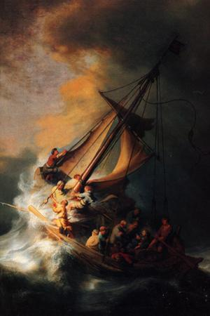 Rembrandt Christ in the Storm on the Lake Genezareth Plastic Sign by Rembrandt van Rijn