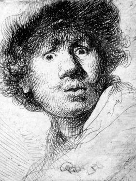 Self Portrait, 1630 (Etching) by Rembrandt van Rijn