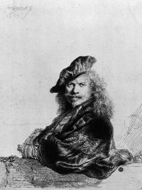 Self Portrait Leaning on a Stone Sill, 1639 by Rembrandt van Rijn