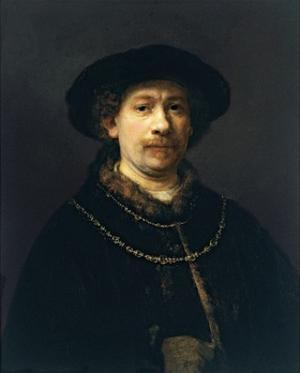 Self-Portrait with a Hat and Two Chains by Rembrandt van Rijn