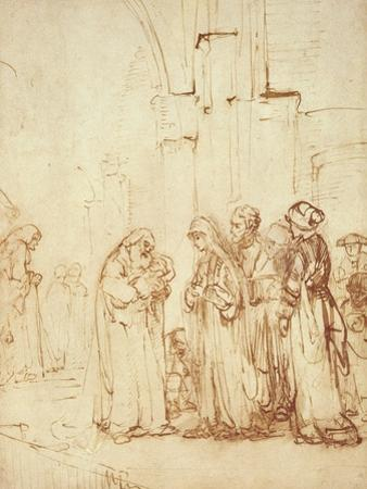 Simeon and Jesus in the Temple (Drawing) by Rembrandt van Rijn