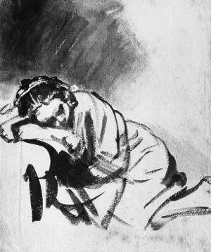 Sleeping Girl, Drawing, British Museum, London by Rembrandt van Rijn
