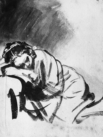 Sleeping Girl, Drawing, British Museum, London by Rembrandt van Rijn