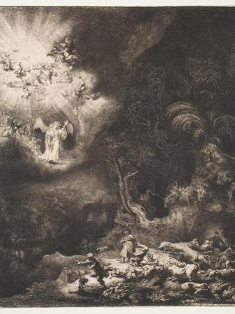 The Angel Appearing to the Shepherds, 1634 by Rembrandt van Rijn