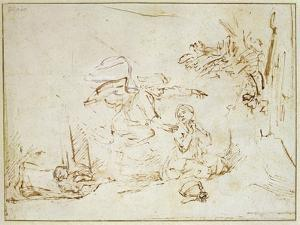 The Angel Appears to Hagar and Ishmael in the Wilderness (Pen and Brown Ink with Bodycolour on Pape by Rembrandt van Rijn