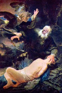 The Angel Prevents the Sacrifice of Isaac by Rembrandt van Rijn