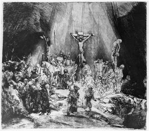 The Three Crosses, 1653 (Drypoint) by Rembrandt van Rijn