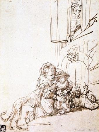 Woman with a Child Afraid of a Dog, 17th Century by Rembrandt van Rijn