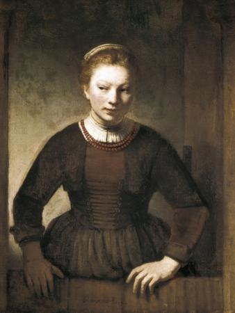 Young Woman at an Open Half-Door by Rembrandt van Rijn