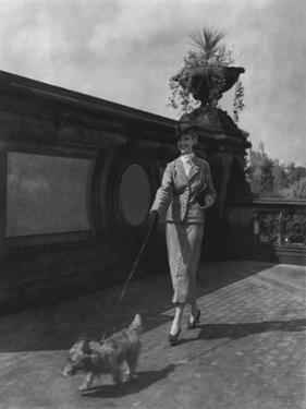 Vogue - October 1934 - Woman Walking Dog in Central Park by Remie Lohse