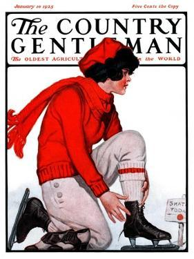 """Lacing Her Skates,"" Country Gentleman Cover, January 10, 1925 by Remington Schuyler"