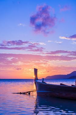 Beautiful Sunrise in Rawai Phuket Island Thailand with Long Tailed Boat Ruea Hang Yao by Remy Musser