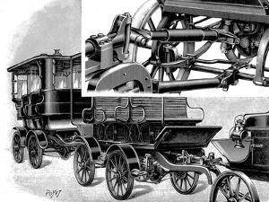 Renard's Automobile Train, Showing Coupling and a Train of Wagons, 1904