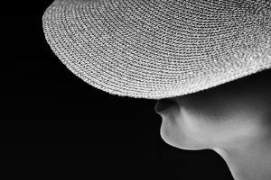 Woman Silhouette in Black and White Photo, Artistic Photo of Woman,Woman in Hat Fragment Photo, Con by Renata Apanaviciene