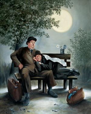 Laurel & Hardy Overnight Bench by Renate Holzner