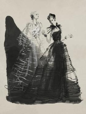 Vogue - April 1936 - Black and White Dresses by Vionnet by René Bouét-Willaumez