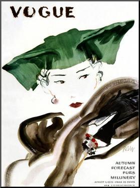 Vogue Cover - August 1935 by René Bouét-Willaumez