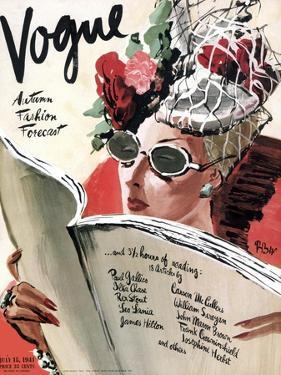Vogue Cover - July 1941 - Summer Reading by René Bouét-Willaumez