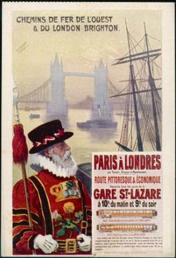 By Rail and Sea from Paris to Brighton or London Featuring a Beefeater and Tower Bridge 1 of 8 by René Péan
