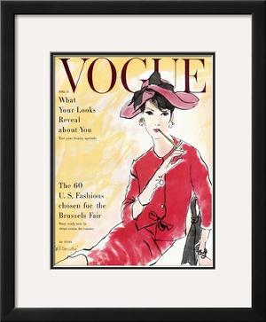 Vogue Cover - April 1958 by René R. Bouché